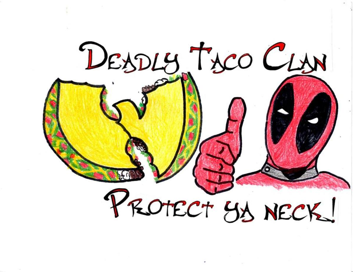 """A funny graphic I made for my new casual alliance, """"The Deadly Tacos"""". I still hang out and strategize with my old alliance group """"Zenpool"""" who are a fairly consistent Top 100 rank. I wanted to keep the Deapool mascot theme, but also show some humor."""