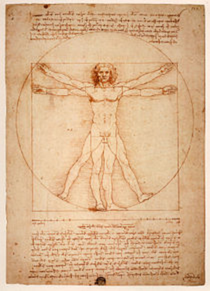 Western aesthetics is reflected in Leonardo da Vinci's  painting capturing the proportions of man reflects  Western values on lines, geometry, detail of externals, harmony symmetry and balance