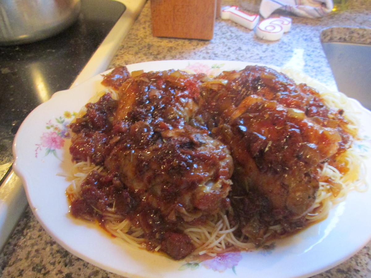 Stewed Chicken Over Angel Hair Pasta