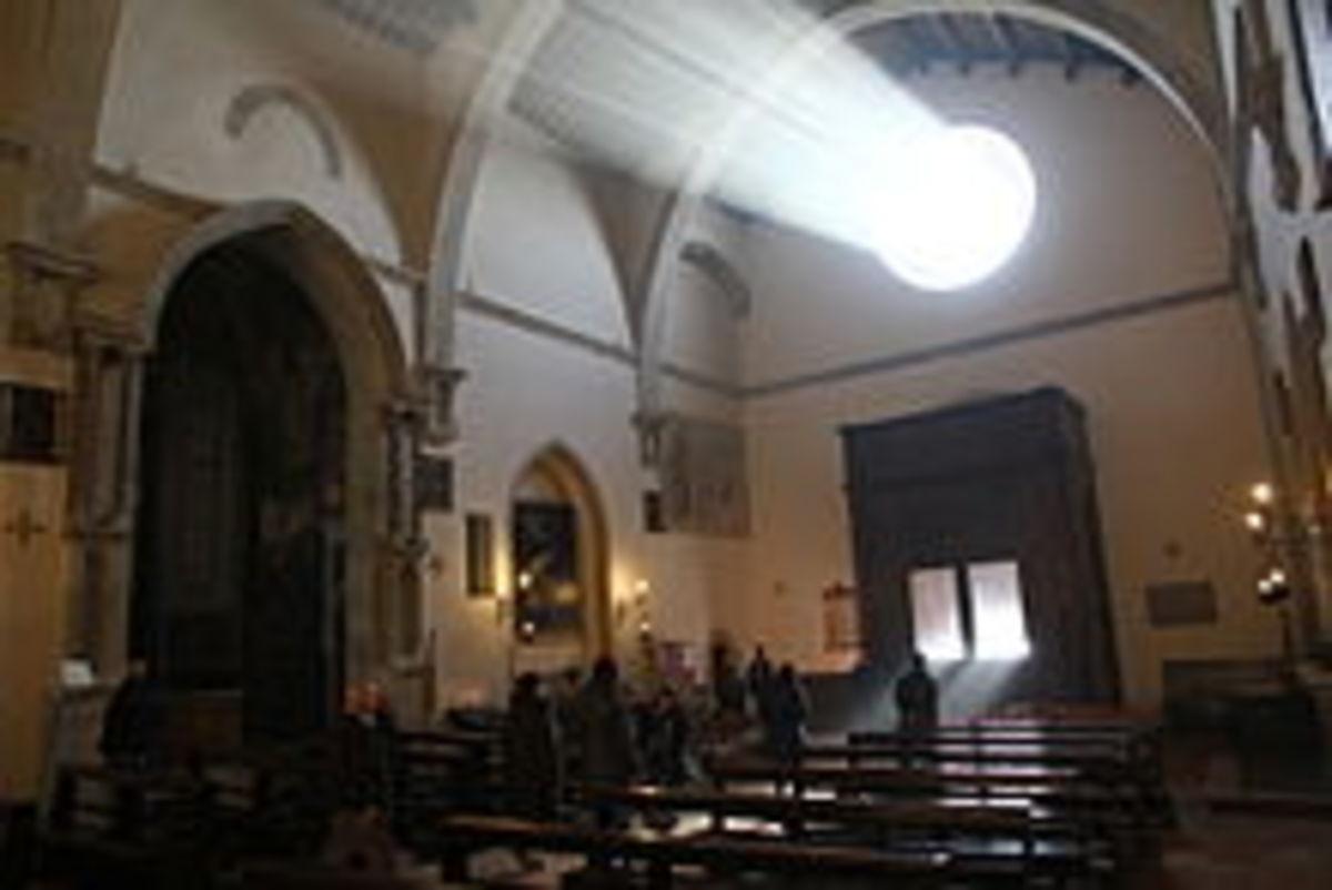 Light streaming through a monastery.
