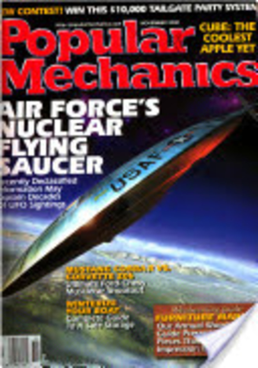 This issue of PM shows what looks like a round winged (UFO) aircraft, flown by the U.S. Air Force, the first prototype was built in 1962.