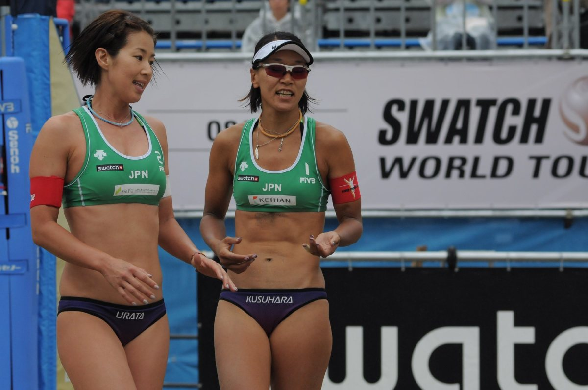 Chiaki Kusuhara with her partner Satoko Urata (left) in 2009. Are they getting ready to play the next point?