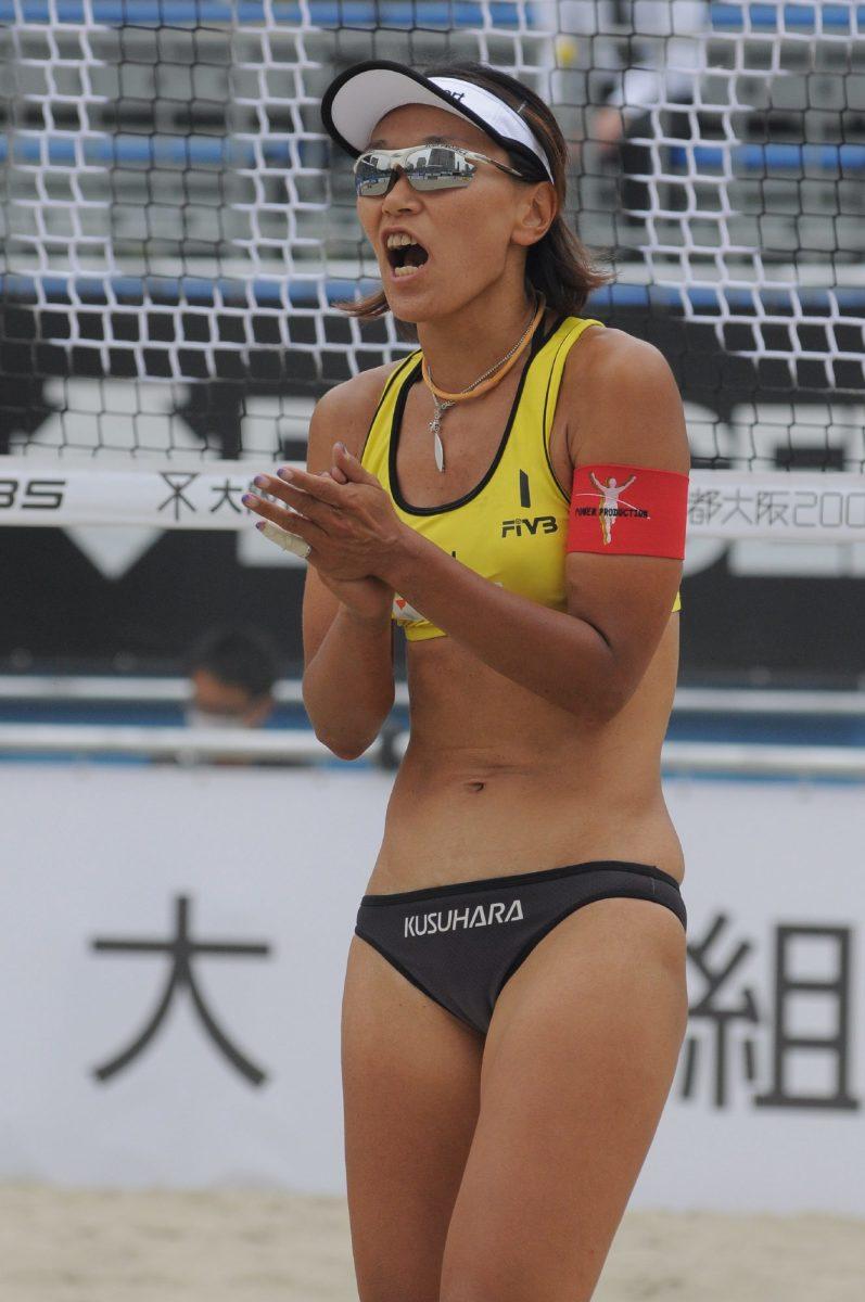 Chiaki Kusuhara celebrates as she wins the point.