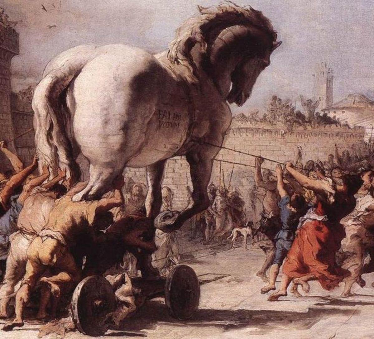 The Procession of the Trojan Horse in Troy - Giovanni Domenico Tiepolo (1727–1804) - PD-art-100