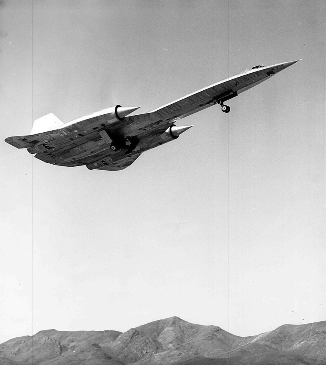 An A-12 (SR-71) takes off from Groom Lake during one of the first test flights, piloted by Louis Schalk, April 26, 1962.