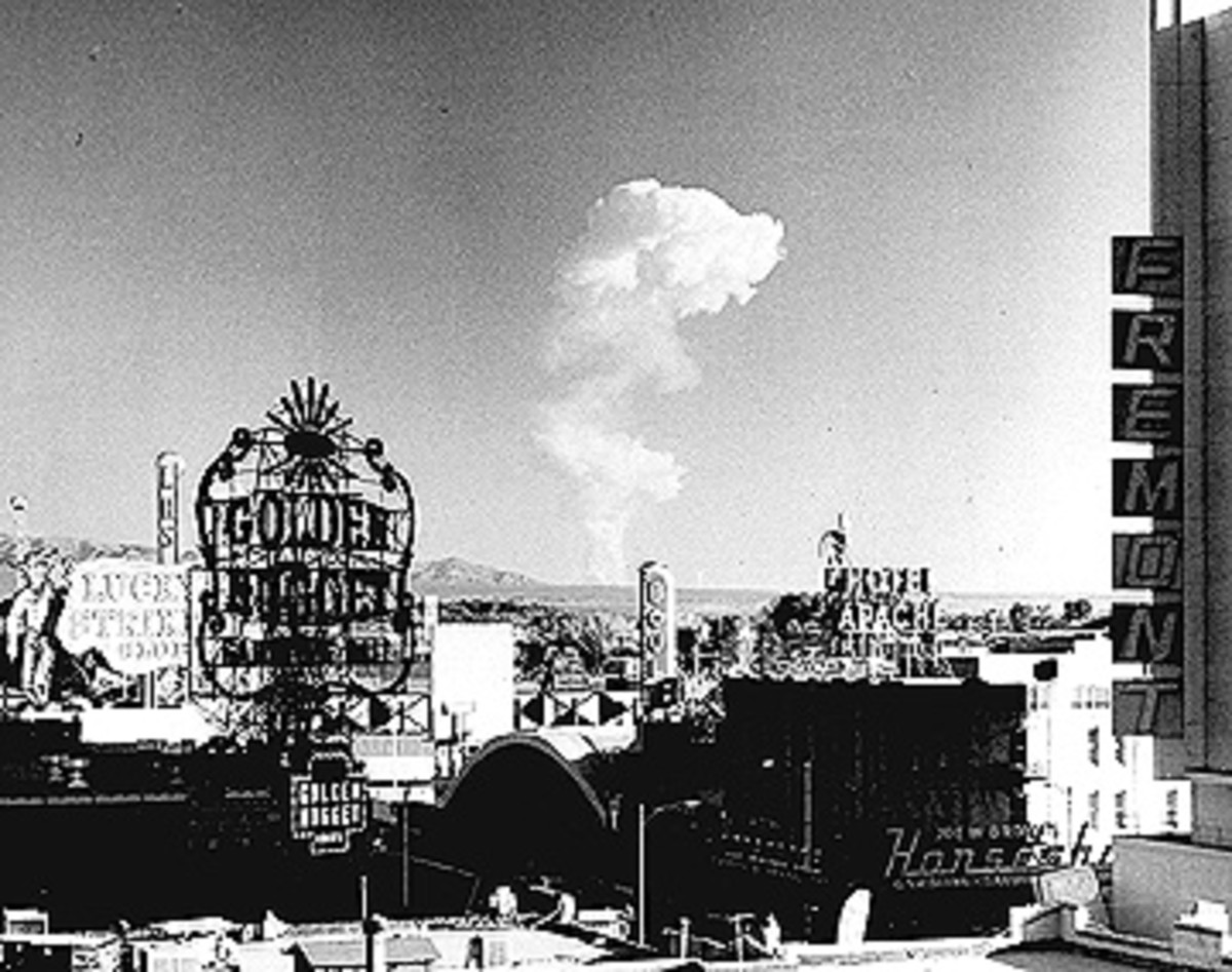 Mushroom cloud seen from downtown Las Vegas from the Nevada Test Site.