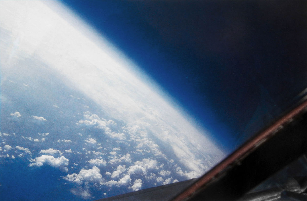 A view from the cockpit of a SR-71 at 83,000 feet over the Atlantic Ocean pilots could see the blackness of space and the curvature of the Earth.