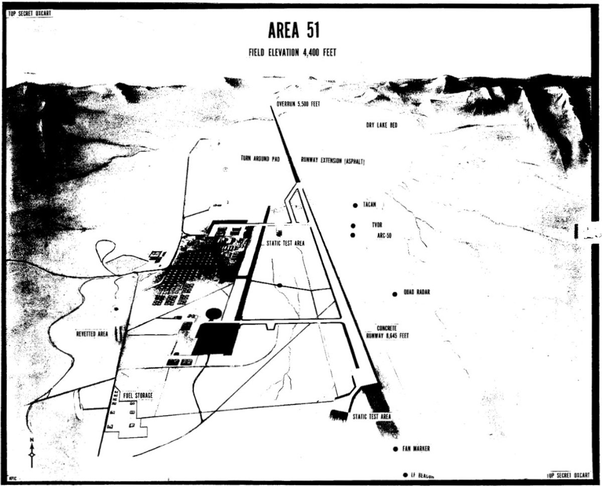 Diagram of the airbase on Groom Lake inside Area 51.