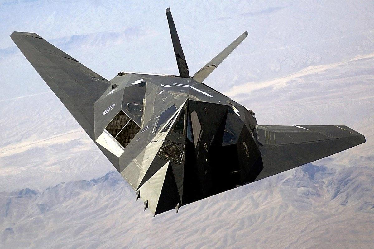 The F117 Nighthawk stealth fighter with its stealthy black surface.