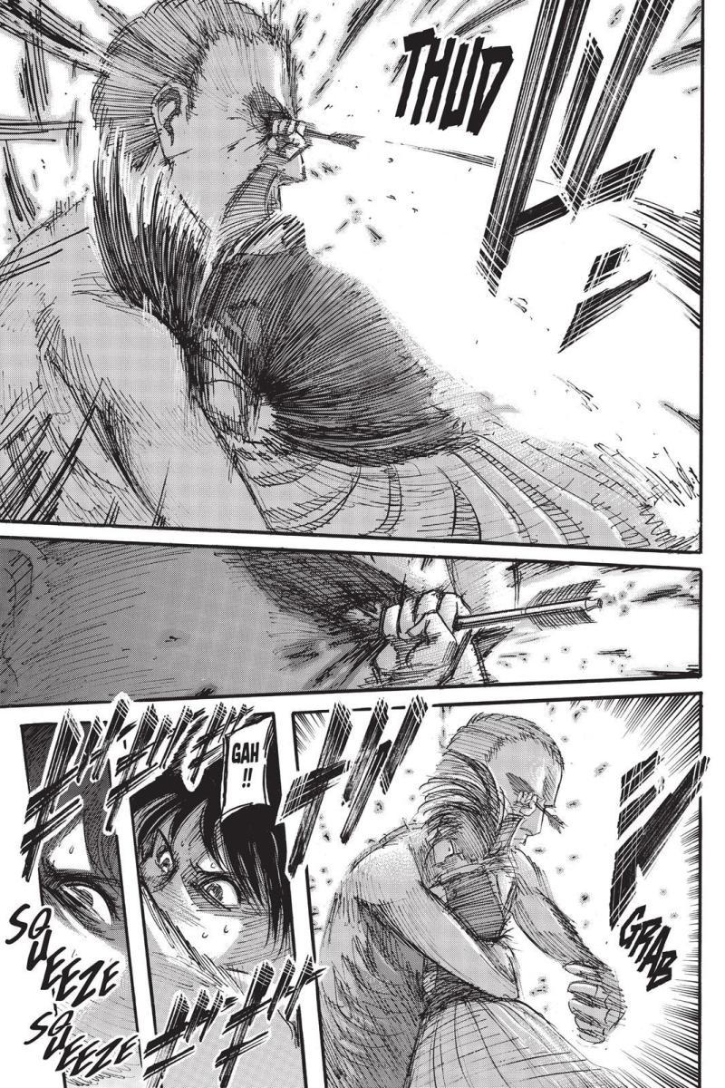 Sasha piercing the Titan's other eye with her last arrow.