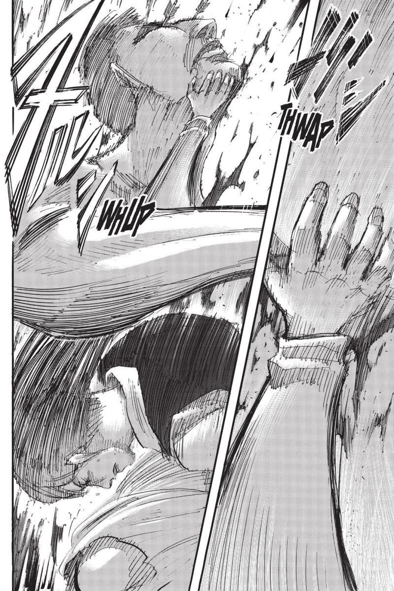 Sasha escaping from the Titan's grasp.