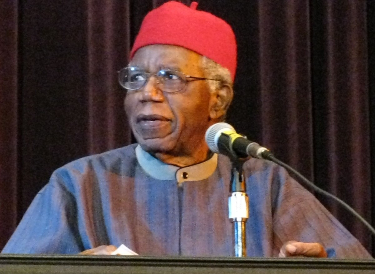 "Chinua Achebe speaking at Asbury Hall, Buffalo, as part of the ""Babel: Season 2"" series by Just Buffalo Literary Center, Hallwalls, & the International Institute."