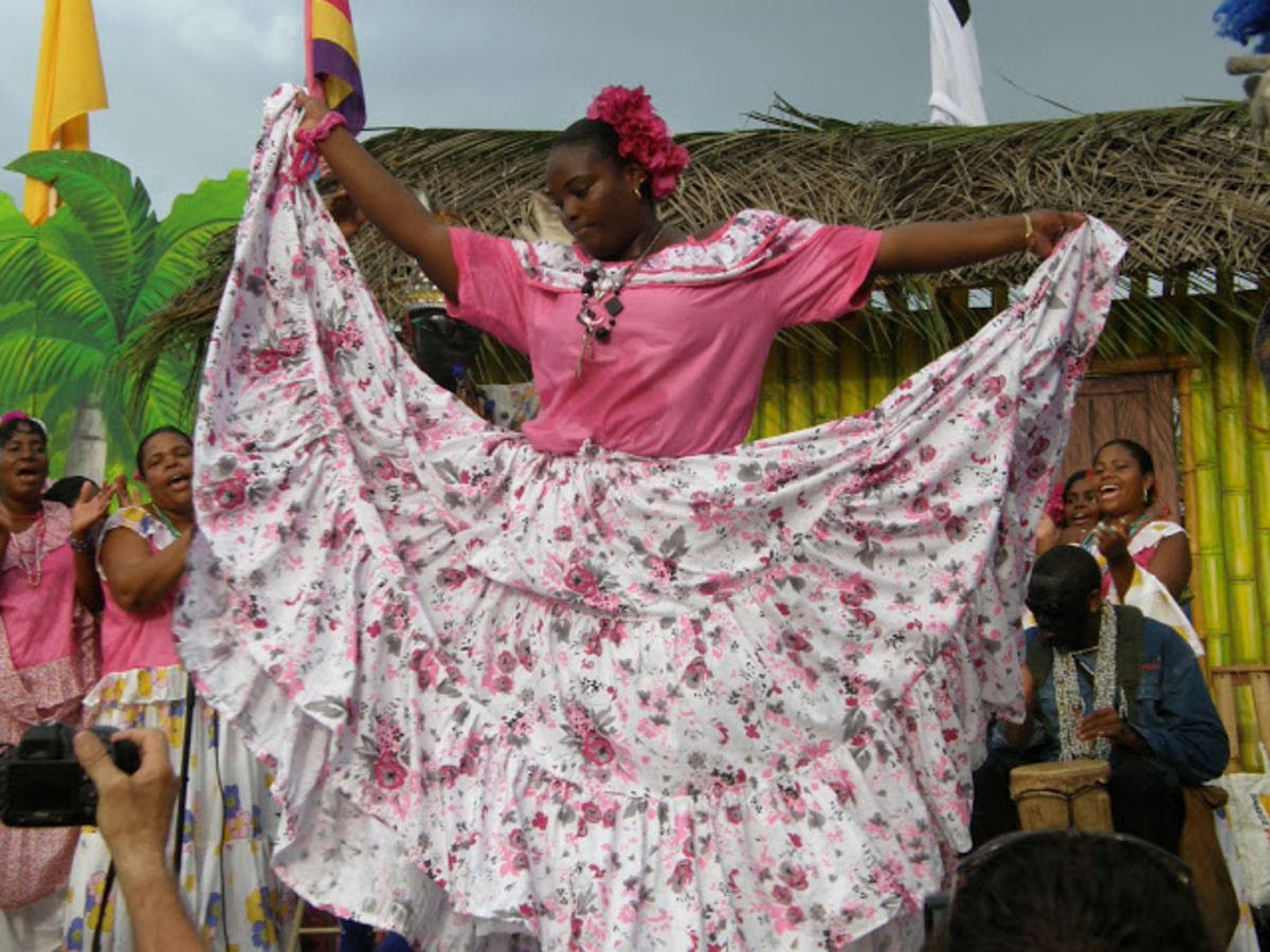 African Panamanian Woman in full dipsoay of her traditional dress