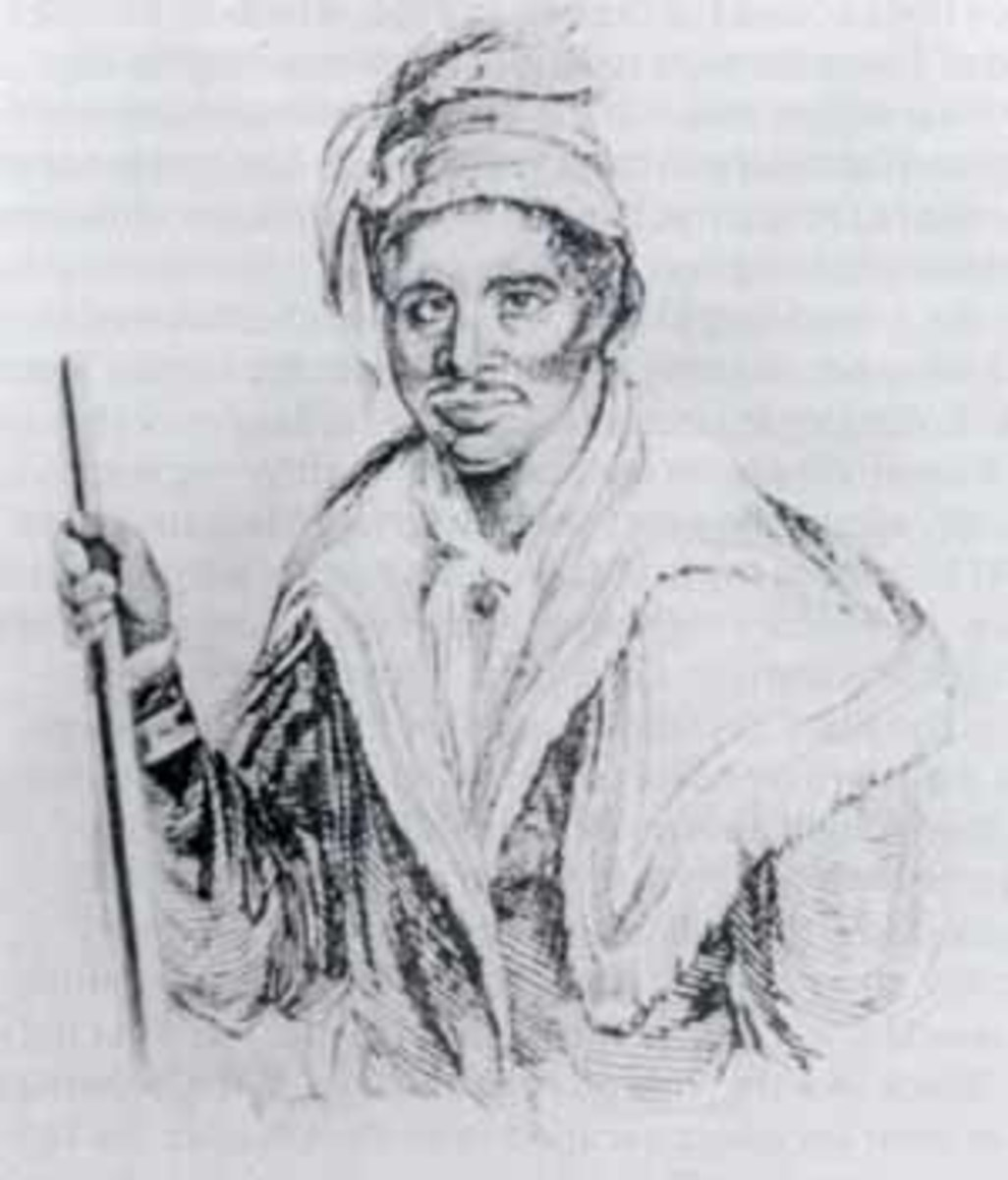 "Abraham, a Black Seminole Leader in the Second Seminole War (1835-1842). The Indians called him ""Souanaffe Tustenukke,"" a title indicating membership in the highest of the three ranks of war leaders. He is wearing typical Seminole dress and holding a"