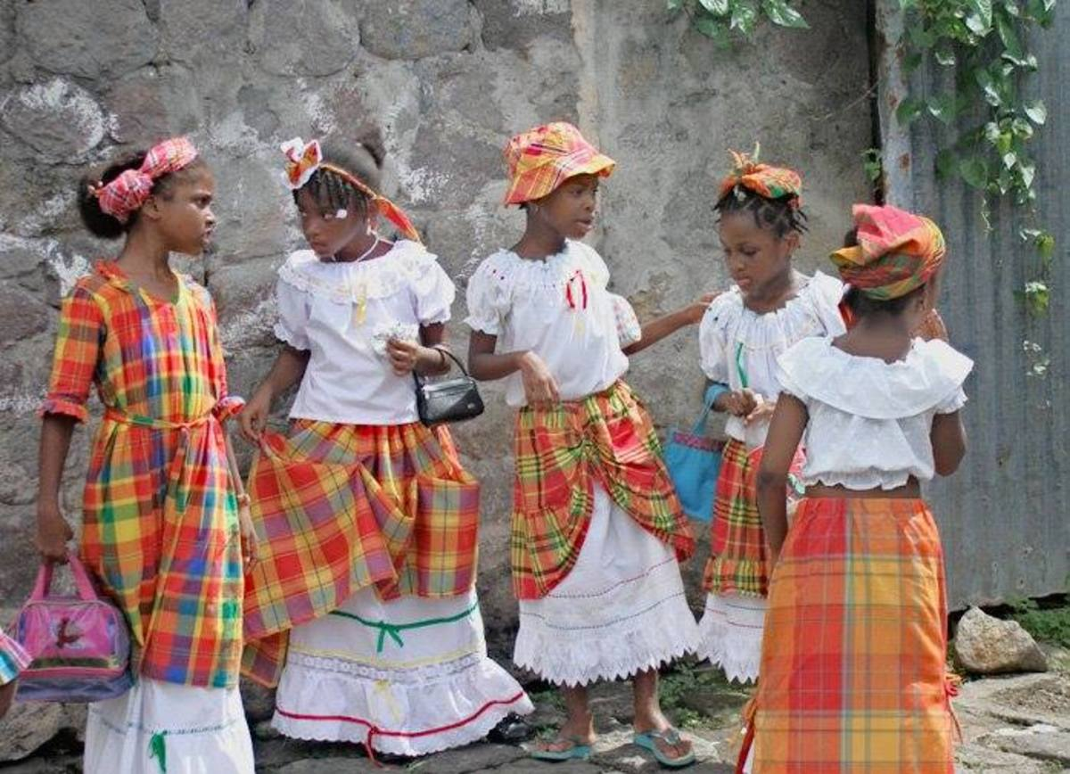 More Children of Dominica in their African Traditional Kente Cloth Clothes...