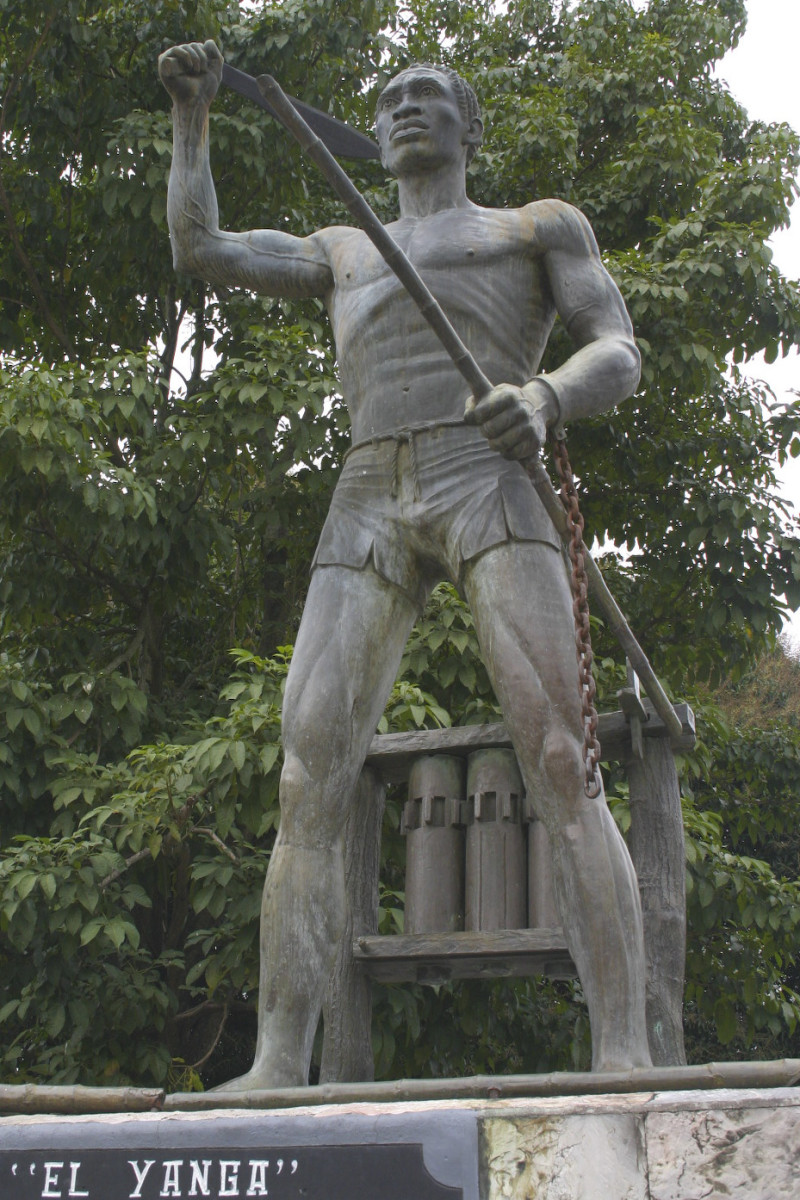 "Statue of Afro-Mexican leader and Mexican National Hero Gaspar Yanga. He was slave rebel that formed the first free black community (palenque) in Latin America known as Yanga. Today, the town reportedly hosts the ""Carnival of Negritude"" every August"
