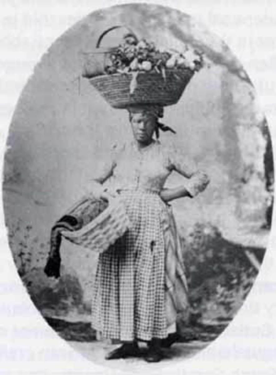 South Carolina Gullah, about 1900. Charleston street Vendor.