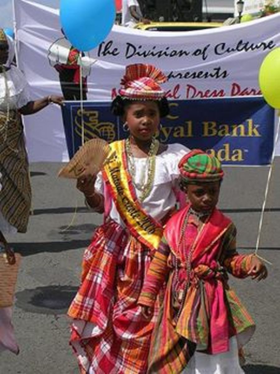 Children Of Dominica in Traditional African Traditional Garb