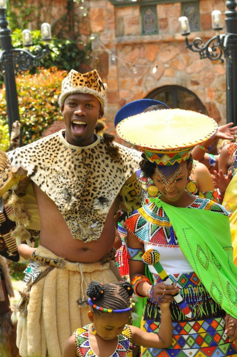 man and wife, the couple in beautiful traditional Zulu outfits