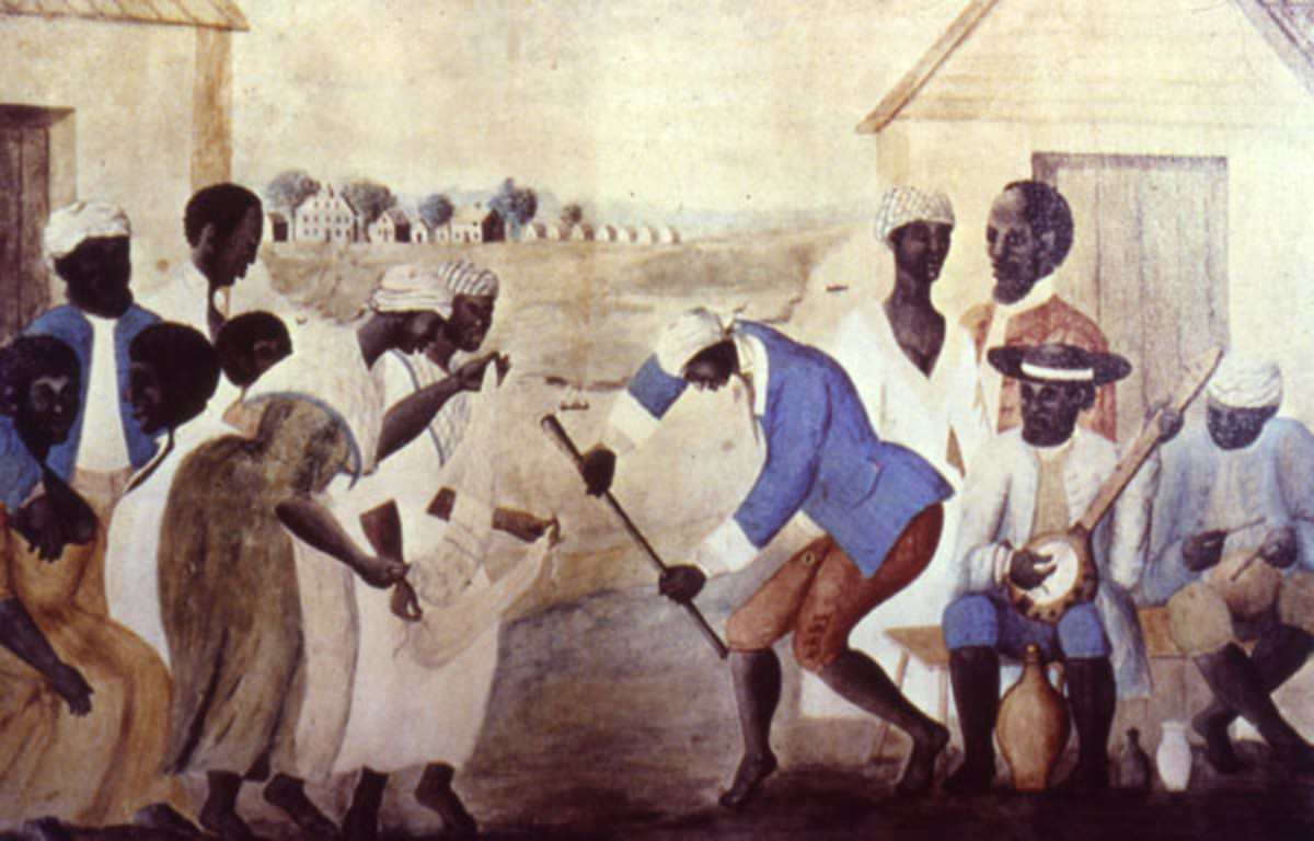 """The Old Plantation,"" South Carolina, about 1790. This famous painting shows Gullah slaves dancing and playing musical instruments derived from Africa. Scholars unaware of the Sierra Leone slave trade connection have interpreted the two female figure"