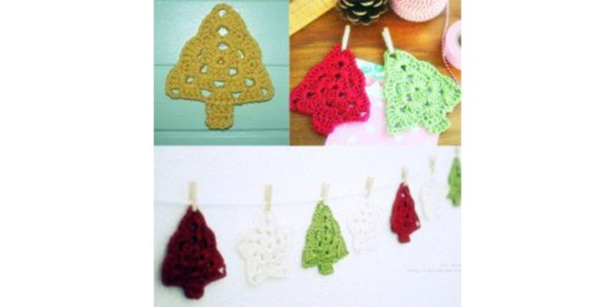 15 Free Christmas Tree Applique Crochet Patterns.