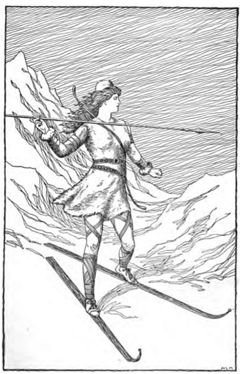 """Skadi Hunting in the Mountains"" by H.L.M., 1901."