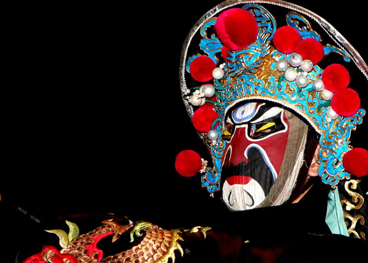 Chinese opera face mask changes character faces