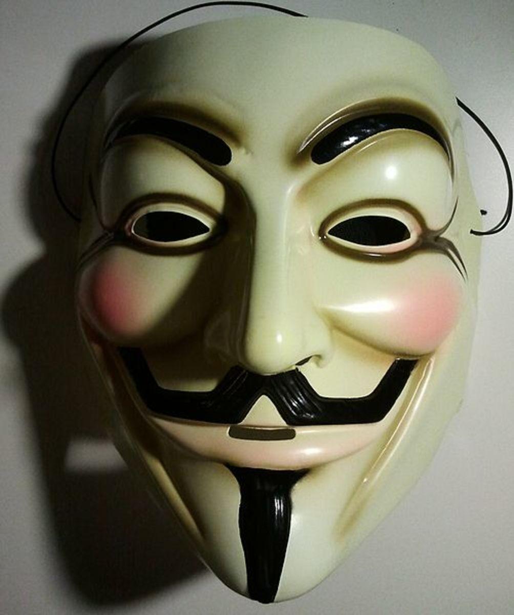 "The Guy Fawkes Mask popularized in 2006 film ""V for Vendetta"