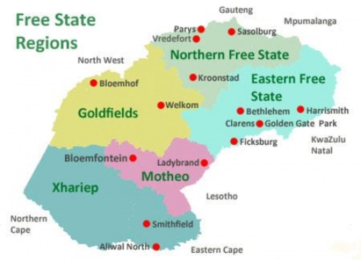Free State regions, South Africa