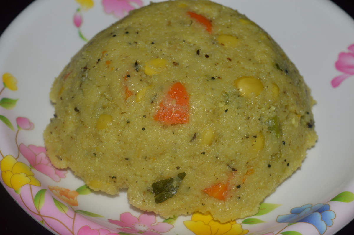 semolina and Hyacinth beans porridge or upma