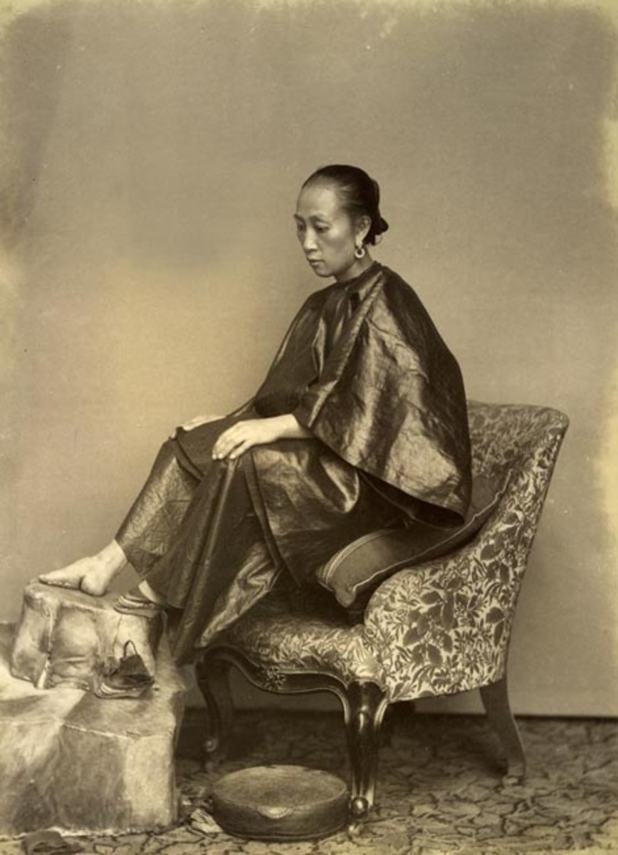 Chinese female footbinding; a practice that would be stamped out in the 20th century (by the efforts, to varying degrees, of every major Chinese government).