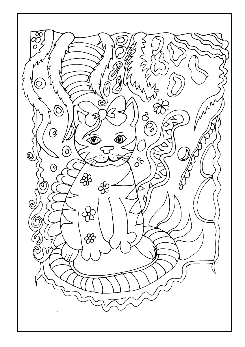 Cat with flowers on her body in an abstract jungle scene.