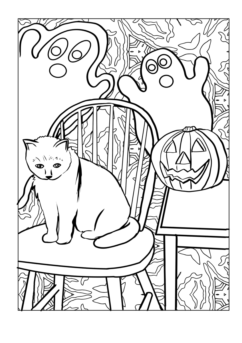 An unimpressed cat sits on a chair while surrounded by ghosts as he plots destroying his owner's jack-o-lantern in this spooky Halloween coloring page.