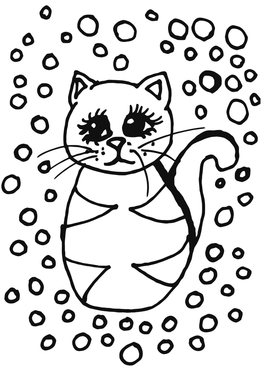 Simple tabby cat in the snow coloring page suitable for young children.