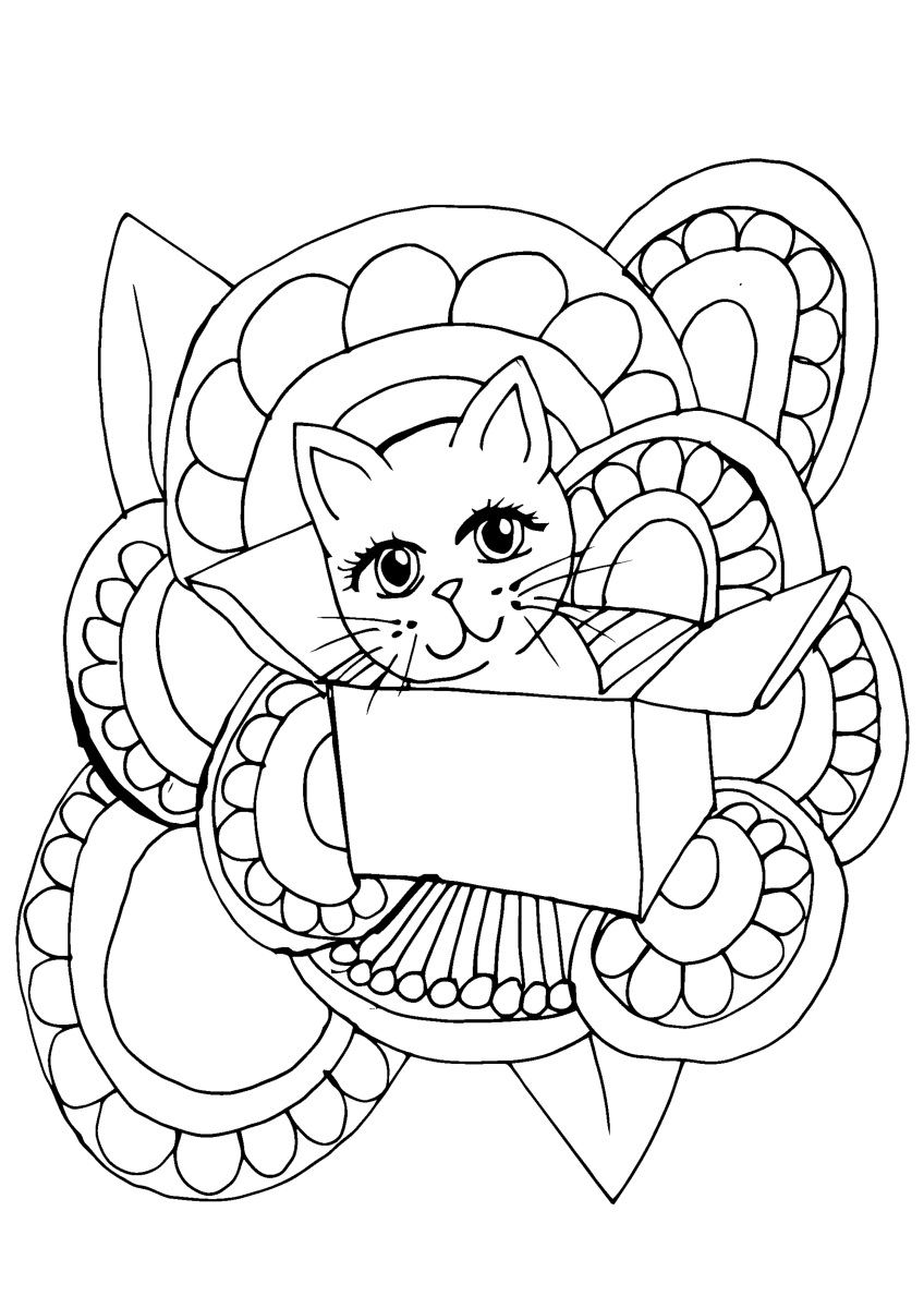 Cat sitting in a box printable coloring page featuring a cat sitting in a box.