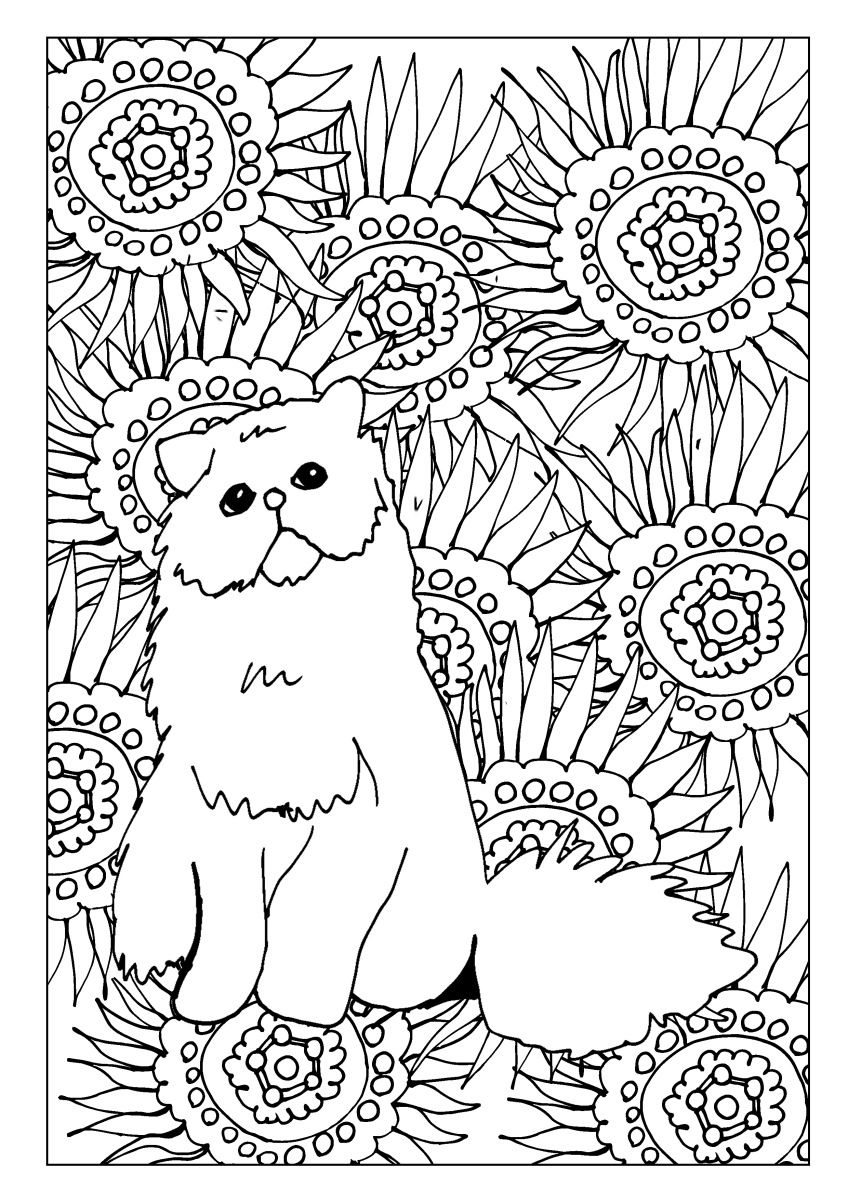 Fluffy Persian cat surrounded by sunflowers, floral motif coloring page.