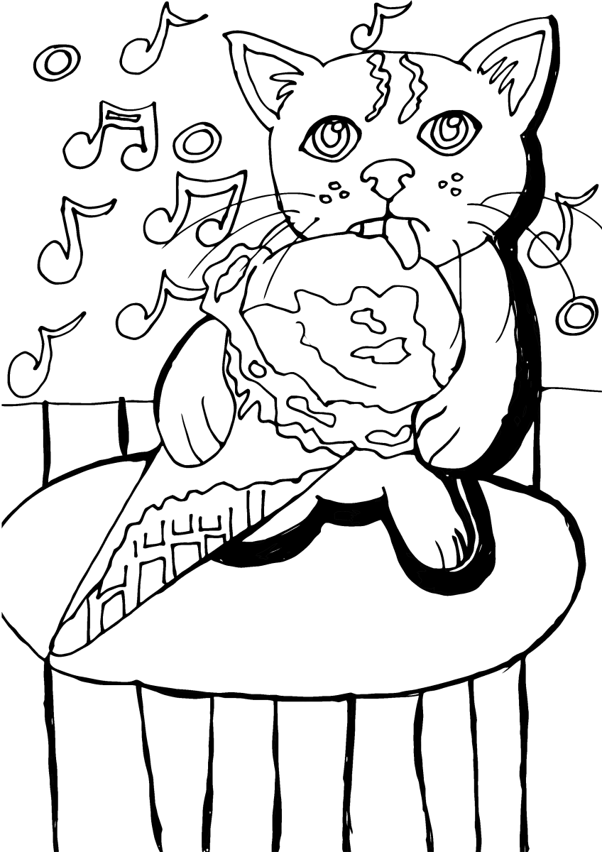 Kitty Cat Eating Ice Cream printable coloring page, featuring a kitty eating an ice cream cone on a hot summer day while listening to music.