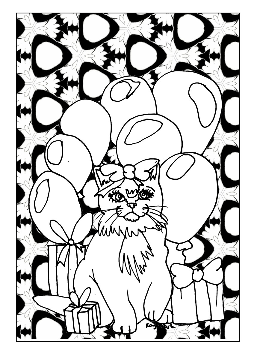 Cat Birthday Party printable coloring page featuring a cute cat with birthday presents and balloons.