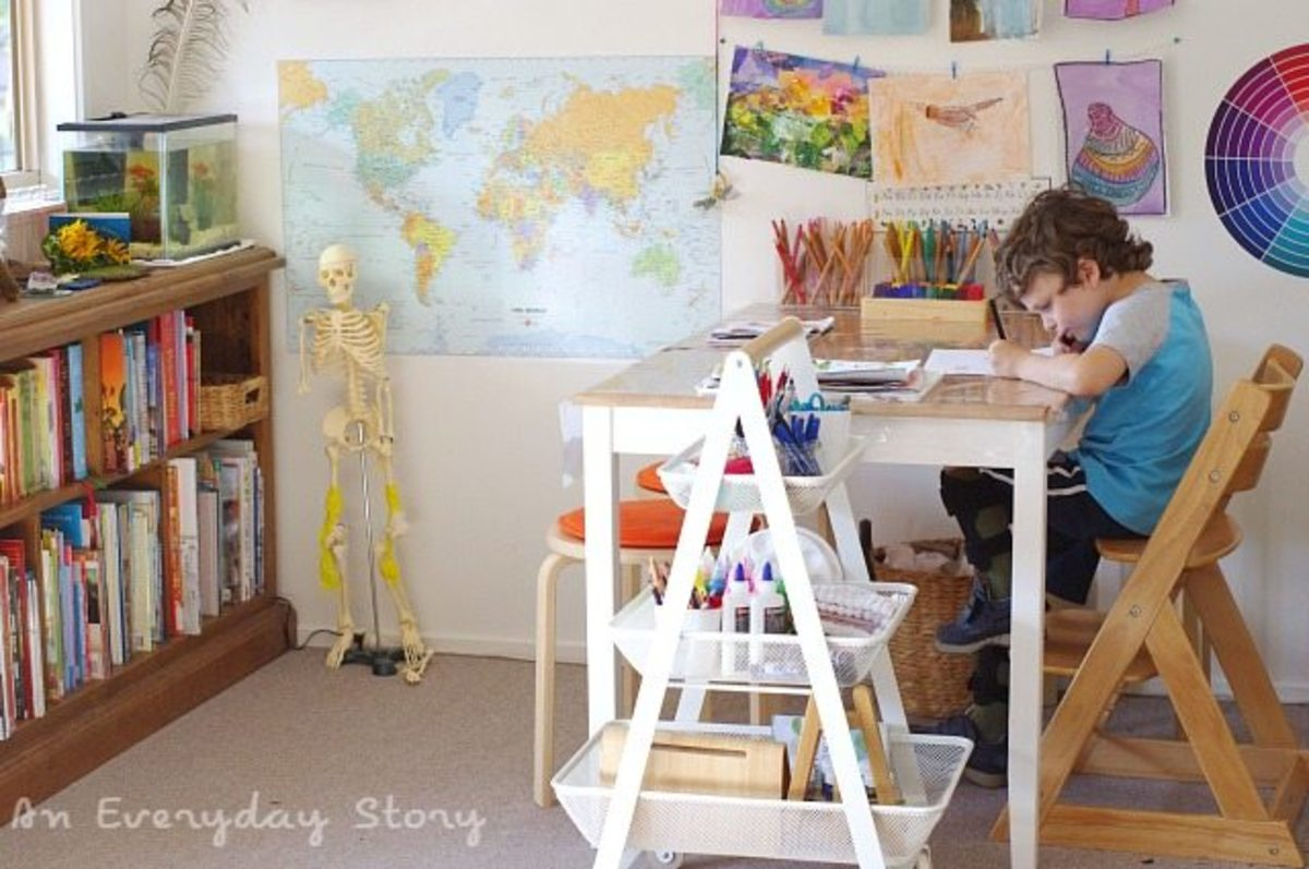 A young boy in a healthy home environment, homeschooling.