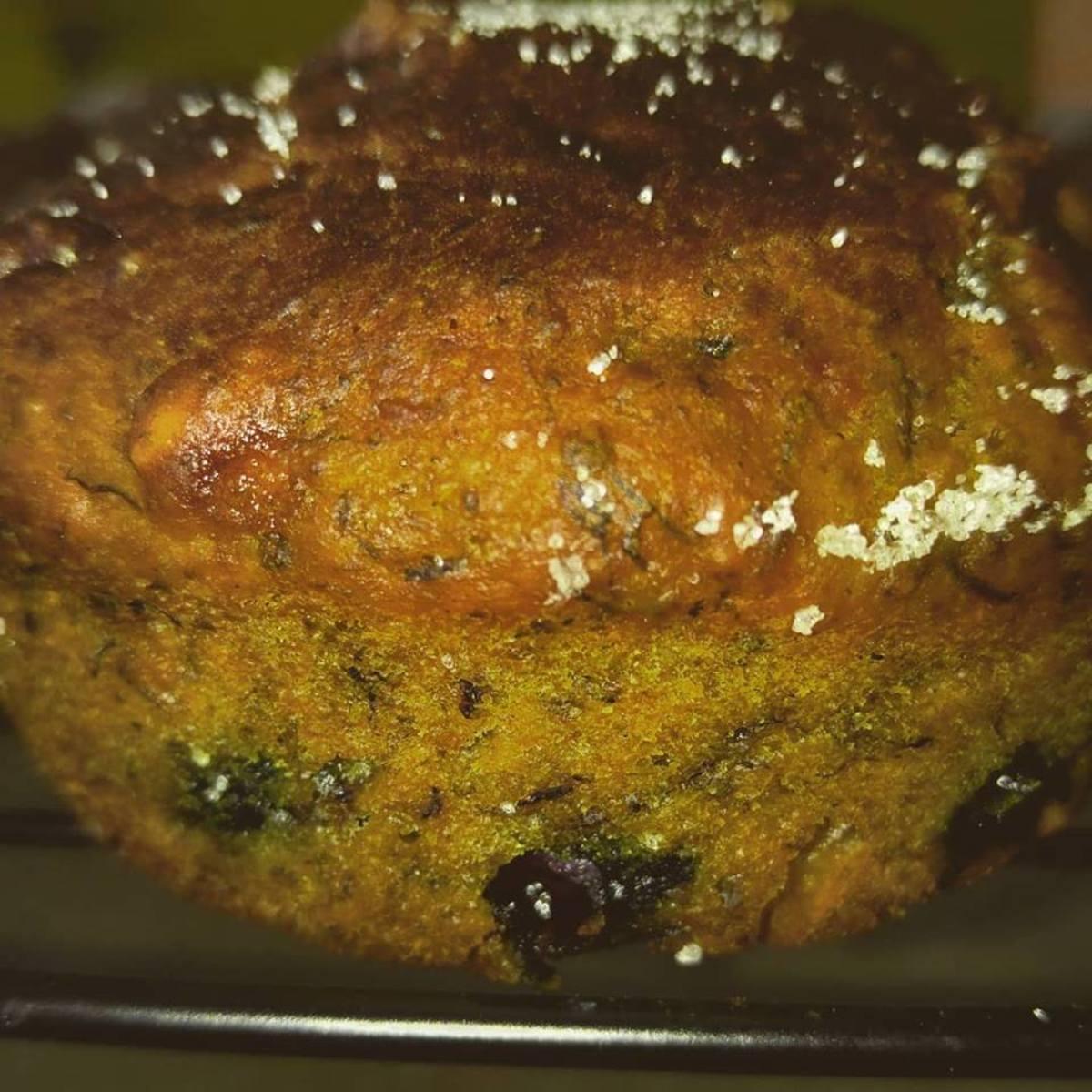Chia Seed Banana Saskatoon Berry Vegan Muffin (Recipe below)