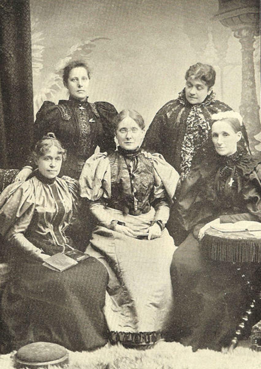 General Officers of the W.C.T.U. (left to right): Anna A. Gordon, Assistant Secretary; Agnes E. Slack, Secretary; Francis Willard, President; Lady Henry Somerset, Vice-President-at-large; Mary E. Sanderson, Treasurer