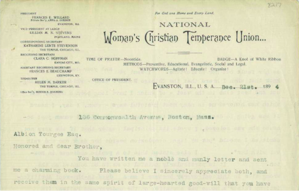 Frances Willard's letter to Albion Tourgee re: Ida B. Wells.