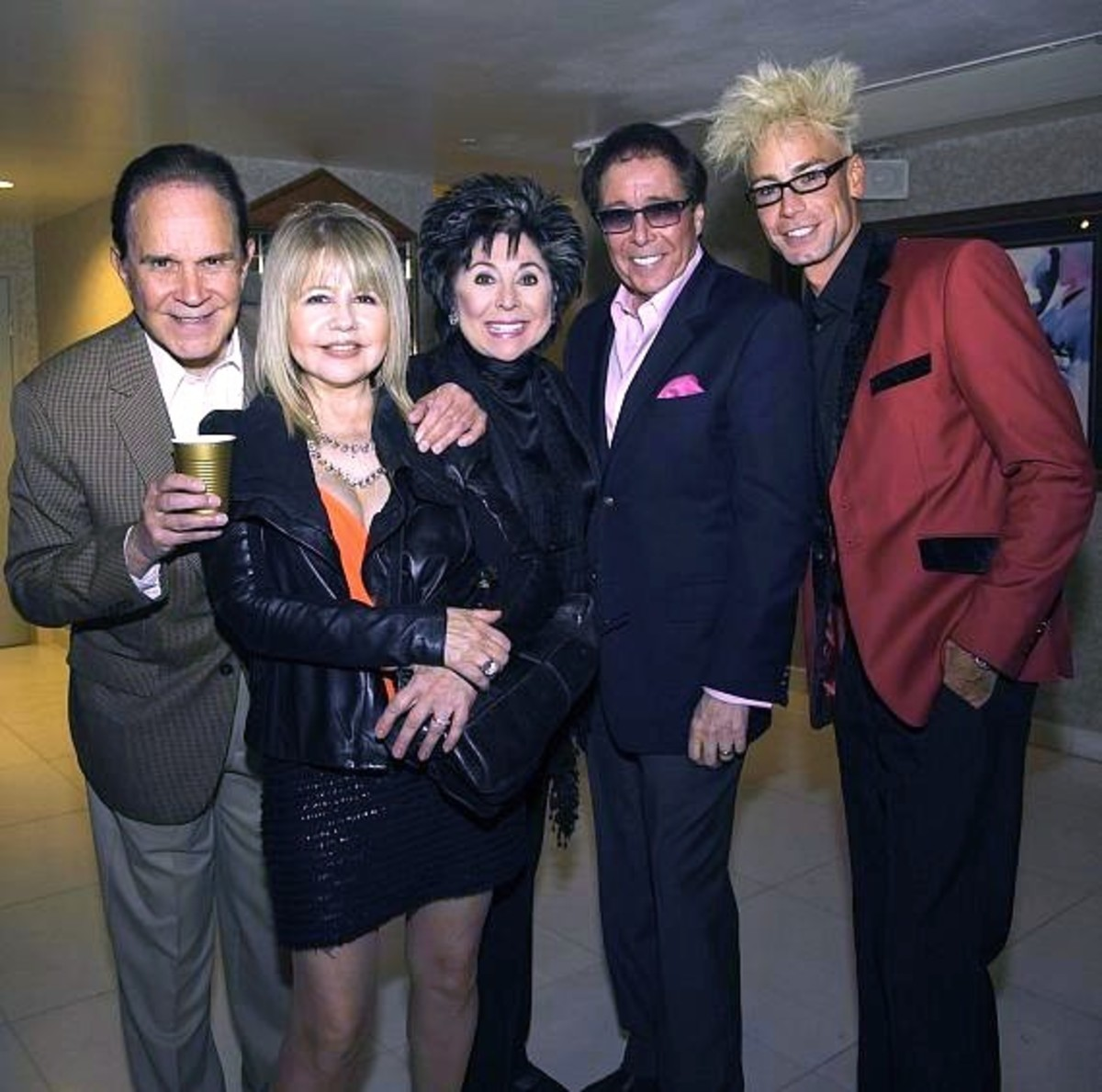 Lorraine & Dennis backstage at the Dennis Bono Show with celebrity guests, Rich Little, Pia Zadora and Murray the Magician.