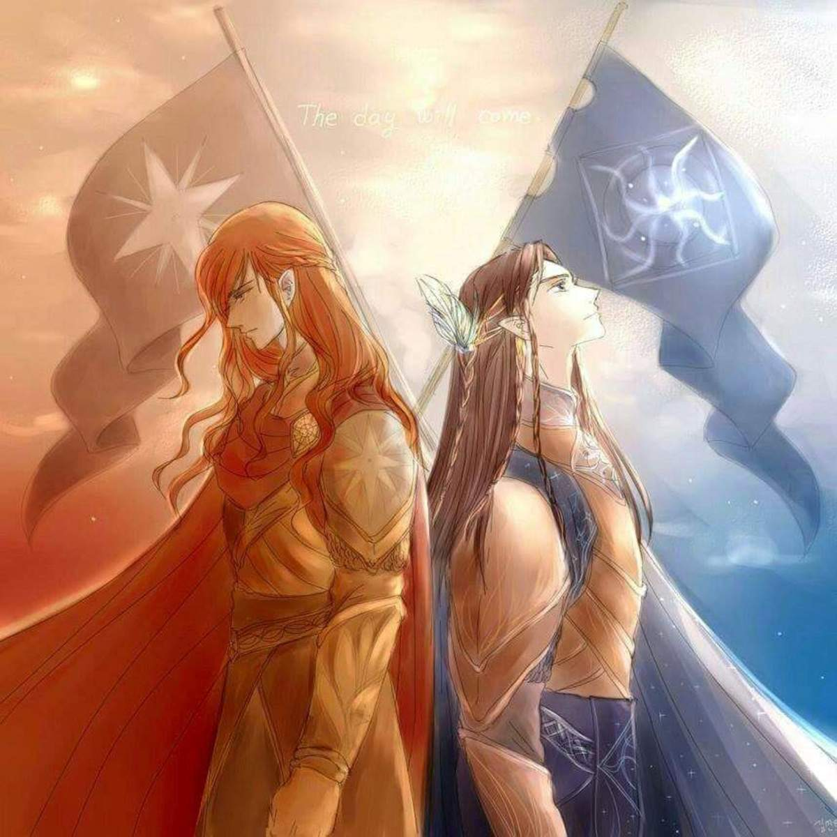 By artist Gildor Inglorion.  Maedhros and Fingon's friendship withstood war, family intrigue, and betrayal.  It is major reason why Maedhros chooses to deviate from how his father ran Noldor.