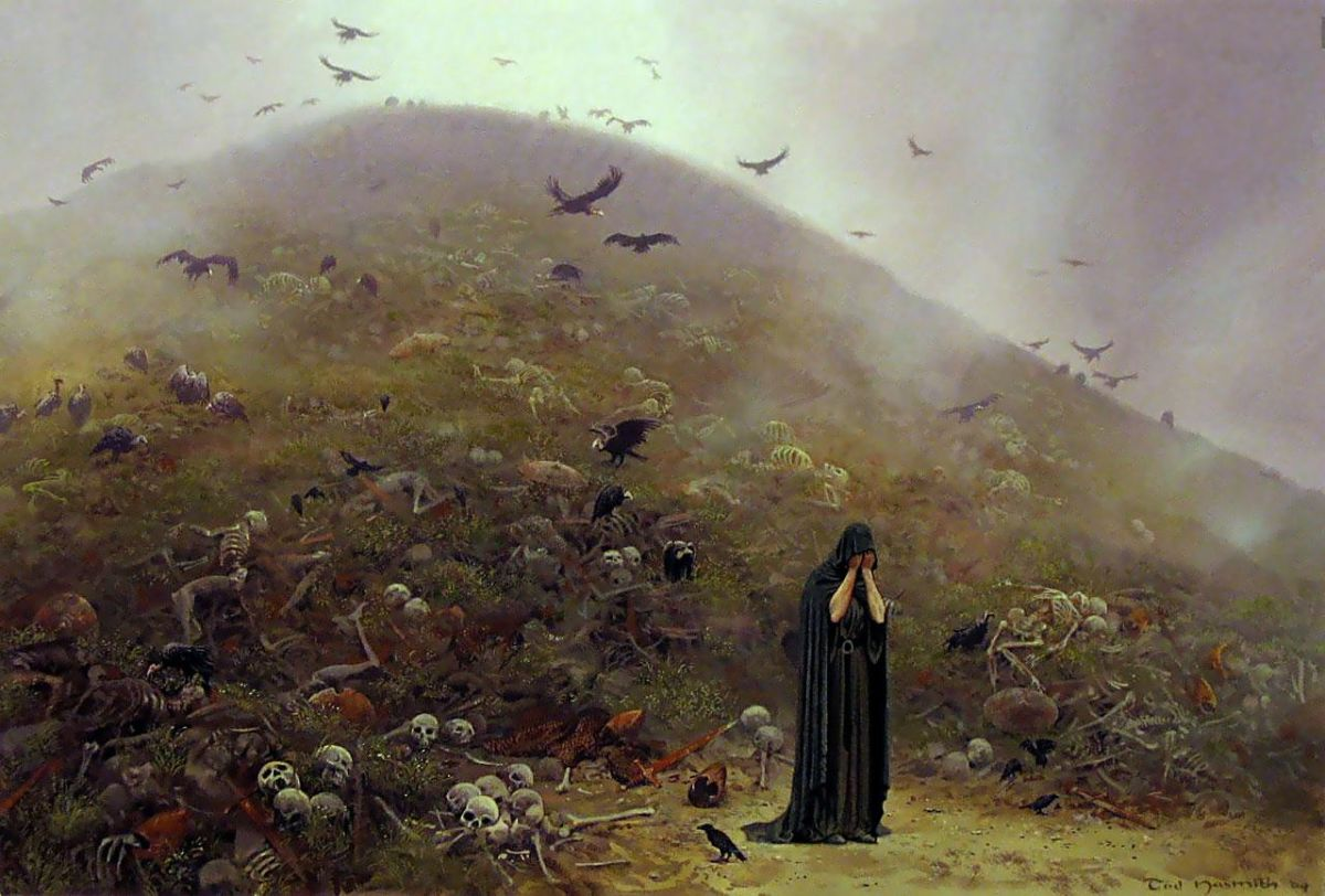 By artist Ted Nasmith.  The Noldor's final conflict against their sworn enemy is a catastrophic defeat.  Any northern territories not over run are abandoned because there are not enough people left to defend them, including Himring.