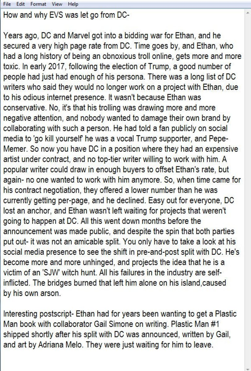 The Document that (allegedly) explains why Ethan Van Sciver was fired from DC Comics.