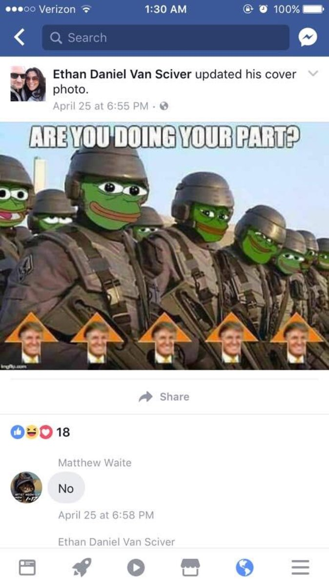 A sample of EVS's old Pepe The Frog posts...gross.