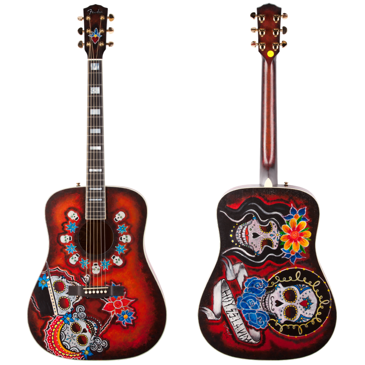 The Fender Dia De Los Muertos Acoustic Guitar, front and back.