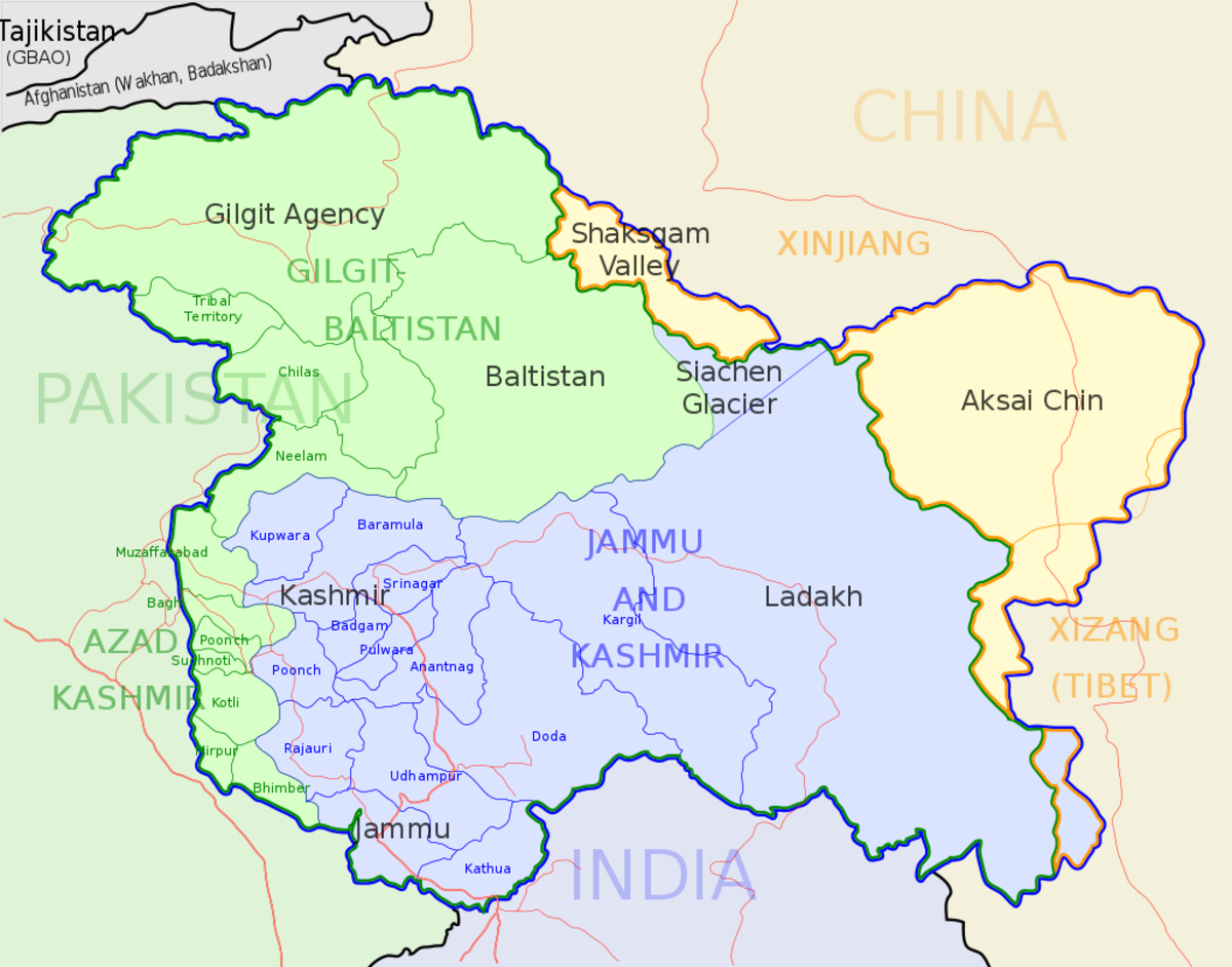 Jammu and Kashmir Map. Green shaded region occupied by Pakistan, Yellow shaded region under Chinese occupation