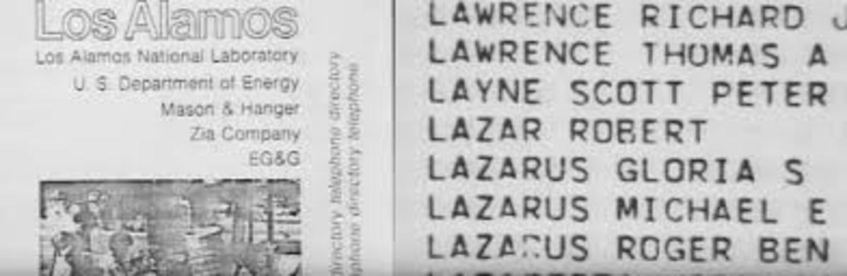 Los Alamos Laboratories Employee List showing Robert Lazar being employed  Los Alamos.